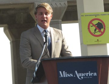 This Aug. 30, 2017 photo shows Josh Randle, president of the Miss America Organization, speaking at a welcoming ceremony for pageant contestants in Atlantic City N.J. On Saturday Dec. 23, 2017, Randle resigned from the organization in the wake of an email scandal in which top leaders of the group ridiculed former Miss Americas, including comments about their appearance, intellect and sex lives. The group's CEO was suspended on Friday. (Wayne Parry/AP Photo)