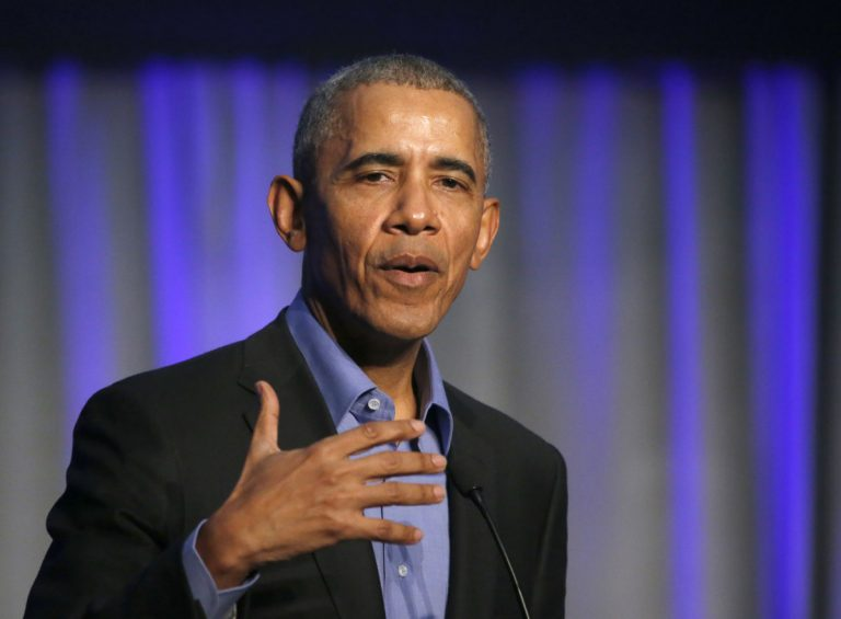 Former President Barack Obama addresses a summit on climate change last year. He will be in Philadelphia Friday to stump for Democrats on the November ballot. (Charles Rex Arbogast/AP Photo)