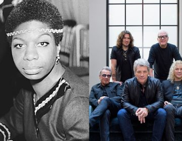 Jazz singer Nina Simone, shown in London, Dec. 5, 1968; and members of Bon Jovi (front row from left), Tico Torres, Jon Bon Jovi, David Bryan, (back row from left), Phil X, and Hugh McDonald  (AP Photo and Drew Gurian/Invision/AP)