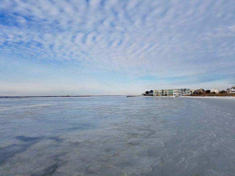 The frozen Barnegat Bay in January 2017. (Image: Harvey Cedars Beach Patrol)