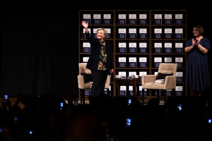 Hillary Clinton on stage during a book tour stop at the Academy of Music, on Thursday in Philadelphia. (Bastiaan Slabbers for WHYY)