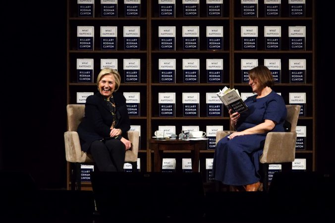 Hillary Clinton reacts to a passage Jennifer Weiner reads from her book including the mention of Matt Lauer. (Bastiaan Slabbers for WHYY)