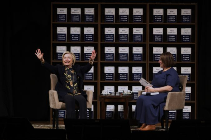 Hillary Clinton and author Jennifer Weiner on stage, at the Academy of Music, on Thursday. (Bastiaan Slabbers for WHYY)