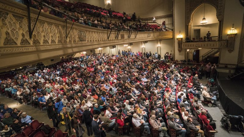 Supporters wait for Vermont Senator Bernie Sanders to take the stage at the Protecting Working Families Rally on December 3 in Reading, Pa. (Branden Eastwood for WHYY)