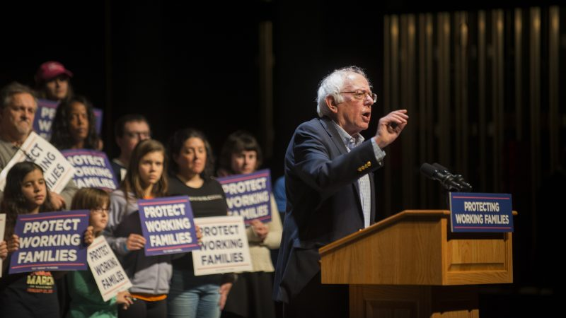 Bernie Sanders speaks at the Protecting Working Families Rally on December 3 in Reading, Pa.