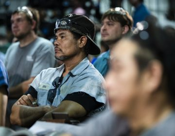 Workers listen to Speaker of the House Paul Ryan, R-Wis., speak at the Pennsylvania Machine Works in Aston, Pa.