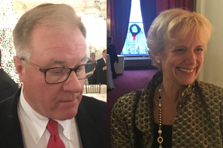 Pennsylvania state Sen. Scott Wagner (left) and Laura Ellsworth, a Pittsburgh attorney, at a Pennsylvania Society event. Both are Republicans running for governor. (Dave Davies/WHYY)