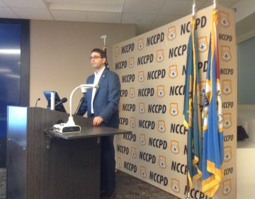 Matt Meyer and New Castle County police announce a grant to combat opiate addiction. (WHYY/Zoe Read)