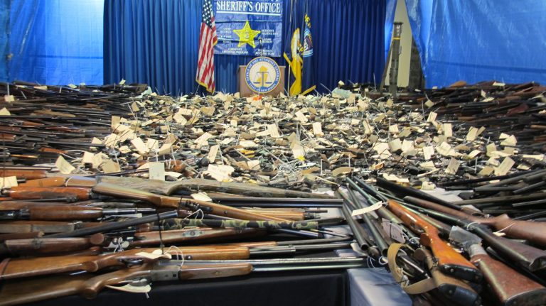 In January 2013, residents turned in more than 2,600 weapons for cash payments in Trenton. A New Jersey lawmaker now proposes holding nine buybacks a  year. (Phil Gregory/WHYY)