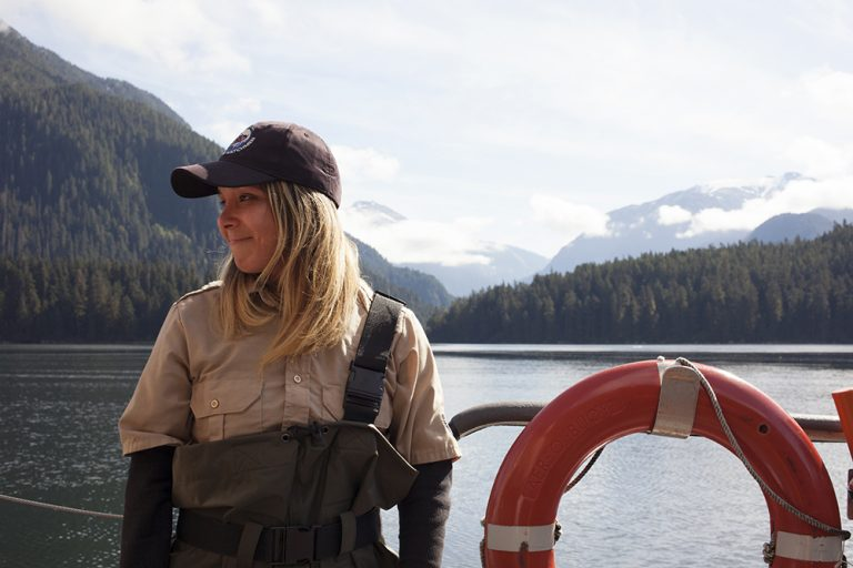Chantal Pronteau has been a Kitasoo/Xai'xais Coastal Guardian Watchman since 2015. She patrols about 1,500 square miles of inlets on the Canadian coast. (Irina Zhorov/WHYY)