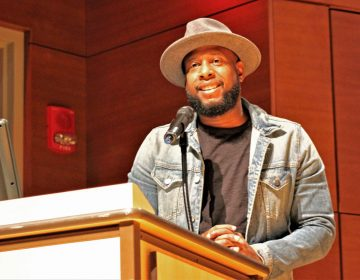 Talib Kweli, the keynote speaker at this year's hip hop summit at Stockton University. (Bill Barlow for WHYY)