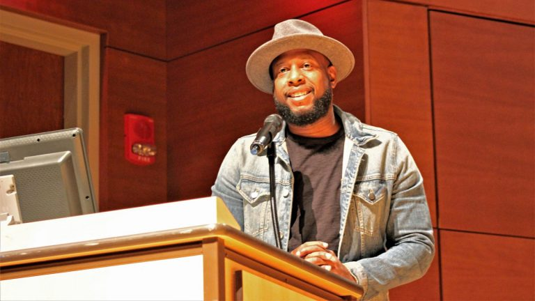 Talib Kweli, the keynote speaker at this year's hip hop summit at Stockton University. (Bill Barlow for WHYY)