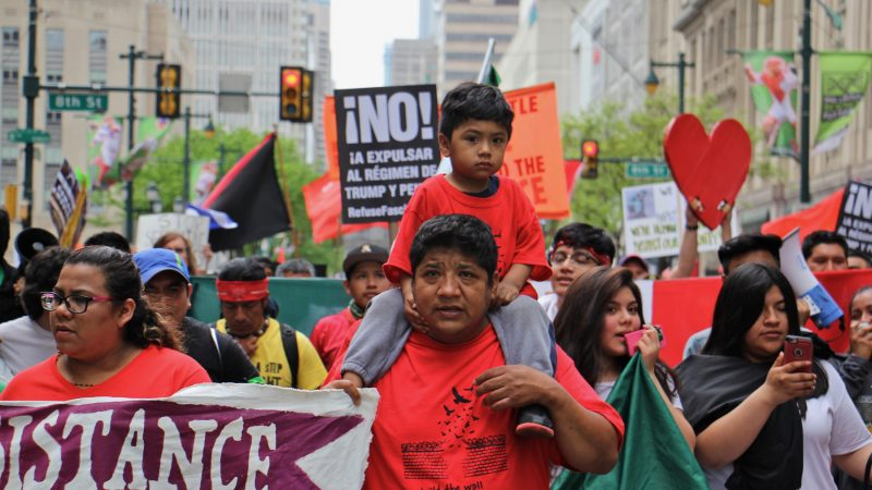 A large contingent of immigrants from Mexico and other Spansih-speaking countries participate in a May Day march in Philadelphia focused on President Donald Trump's immigration policies. (Emma Lee/WHYY)
