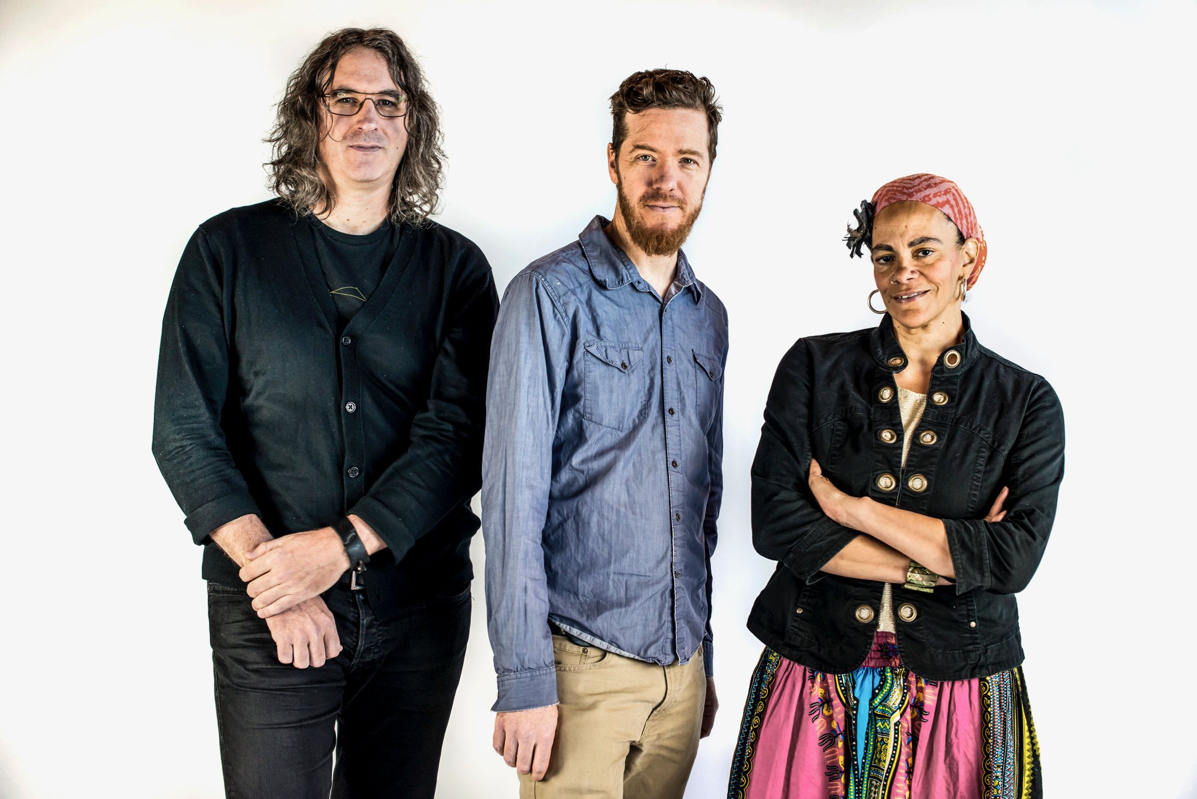 Kimmel Center artist-in-residence Doug Hirlinger (center) is pictured with two of his four collaborators, composer/guitarist Tim Motzer and lyricist/poet Ursula Rucker.