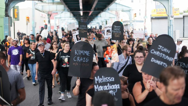 Hundreds marched down Kensington Avenue  for the March in Black in rememberance of those who have died from opioid overdoses. (Brad Larrison for NewsWorks)