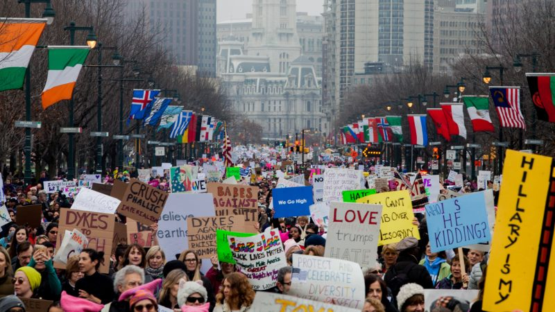 Protesters fill the Ben Franklin Parkway during the Women's March on Philadelphia on Janaury 21, 2017. (Brad Larrison for NewsWorks)