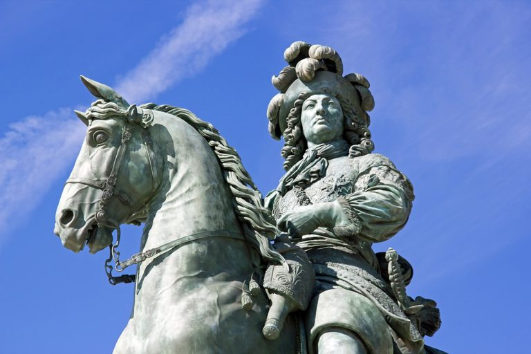 An equestrian statue of France's Louis XIV is shown at the palace at Versailles.