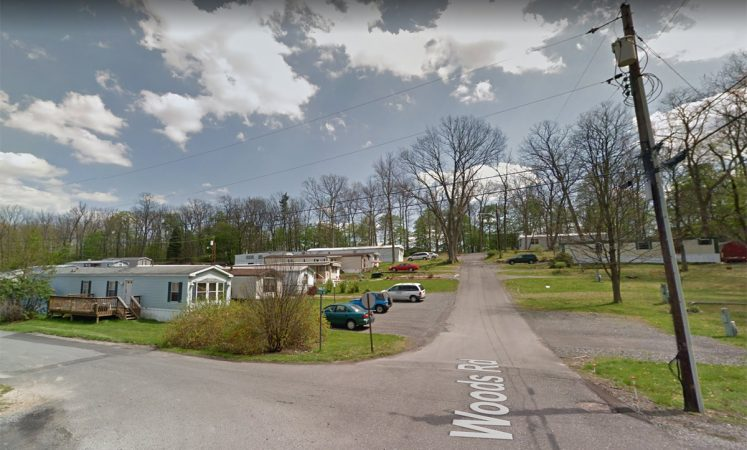 The intersection of Woods Road and Mobile Avenue at the former Hilltop mobile home park in State College. (Image by Google street view from April 2012)