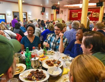 Revelers enjoy dinner and comedy at the Moo Shu Jew Show in 2016.