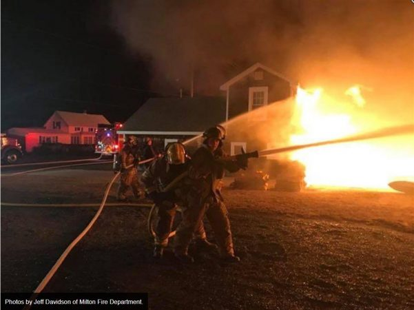 Multiple companies were called to battle the flames which were spread by high winds in Slaughter Beach on Christmas night. (Jeff Davidson of Milton Fire Department/courtesy Indian River Vol. Fire Co.)