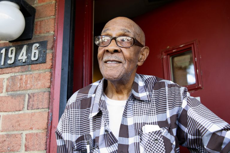 Albert Hill, 87, has lived at the Norris Homes for more than 50 years. He's looking forward to returning to the homes once the development is complete. (Bastiaan Slabbers/for WHYY)