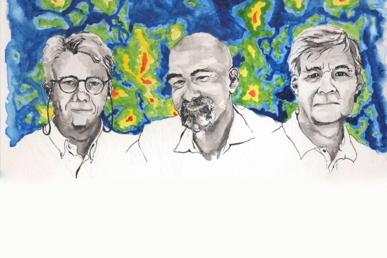 Princeton scientists (from left) Lyman Page, David Spergel and Norman Jarosik