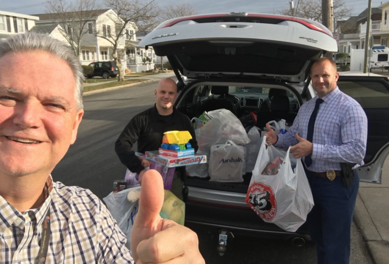 Police from the North Wildwood Police Department with recovered toys. (Photo courtesy of the North Wildwood Police Department)