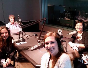Bess Neiblum, Emory Chiappa and Michelle Legaspi Sanchez of the Chester County Fund for Women & Girls speak with Dave Heller at WHYY studios