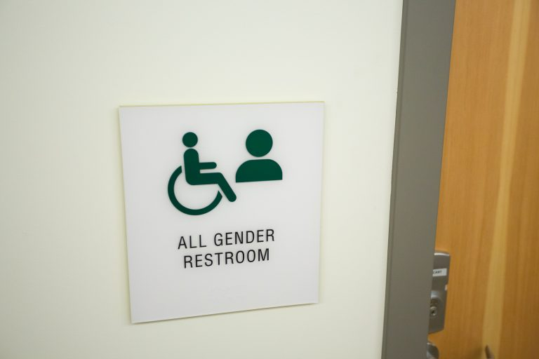 A proposed anti-discrimination policy for Delaware schools would, among other provisions, allow students to use the bathroom that aligns to their gender identity.  All gender restroom sign at a school. (Photo via Bigstockphoto)
