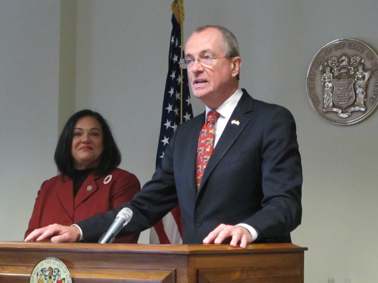 New Jersey Gov.-elect Phil Murphy says Assemblywoman Marlene Caride will help him develop a pubic bank in New Jersey as commissioner of the Department of Banking and Insurance.  (Phil Gregory/WHYY)