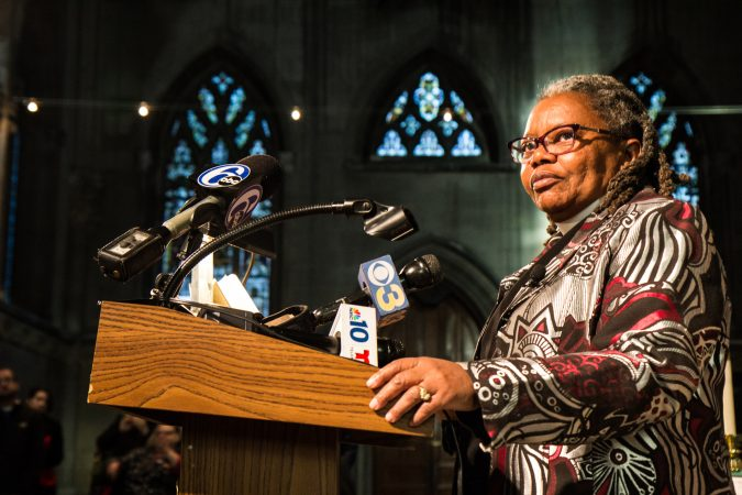 Rev. Renee McKenzie addresses the media and congregation.(Kimberly Paynter/WHYY)