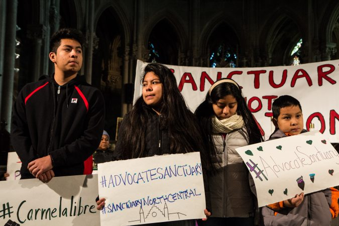 Carmella's children, Fidel, 15, Keyri, 13, Yoselin, 11, and Edwin, 9, will take sanctuary in the Church of New Advocate with her. (Kimberly Paynter/WHYY)