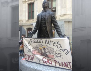 Opponents of SEPTA's gas plant gathered at the Catto Memorial outside City Hall arguing the location of the plant was racist.