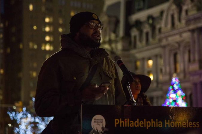Richard Ramson reads a poem he wrote reflecting on his time living on the street. (Emily Cohen for WHYY)