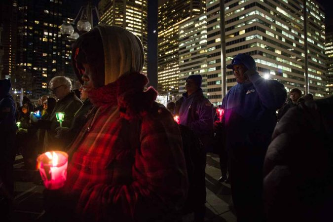 On Wednesday, December 21. 2017, hundreds of people came to Thomas Paine Plaza near City Hall to urge that more be done to reduce homeless. (Emily Cohen for WHYY)