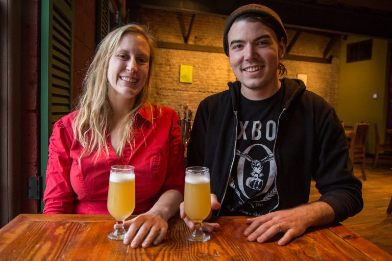 Julie Foster and Jean Broillet IV chat about beer trends at the cafe at their Tired Hands Brewery in Ardmore, Pennsylvania. (Emily Cohen for WHYY)