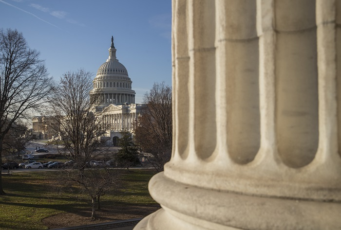 The Capitol is seen in Washington, Monday, Dec. 18, 2017, as Congress returns to face action on the GOP tax bill and funding the government before the end of the week. (AP Photo/J. Scott Applewhite)