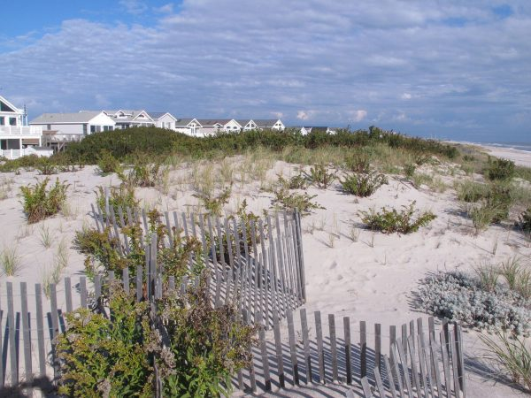 This Oct. 26, 2017 photo shows the 25-foot tall dunes protecting homes in the Midway Beach section of Berkeley Township, N.J. (AP Photo/Wayne Parry)