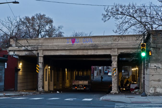 Many drivers honk horns and yell out their windows to people living under the overpass at Emerald and Lehigh Streets in Philadelphia.