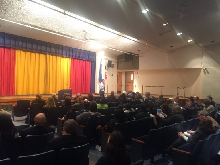 Gov. John Carney faced a host of questions during a boisterous town hall meeting Wednesday at Stubbs Elementary School, one of three Wilmington school eyed for closing under a proposal by his administration and other education leaders. (Cris Barrish/WHYY)