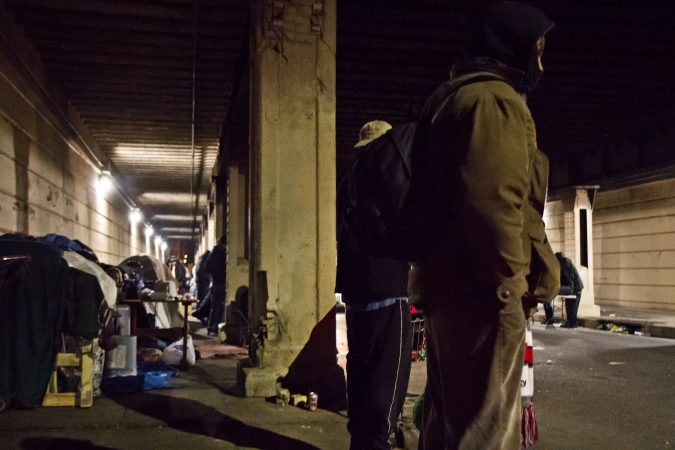 Since the cleanup of the Conrail tracks in Kensington, many living there have moved to live beneath the overpass at Emerald and Lehigh Streets. (Kimberly Paynter/WHYY)