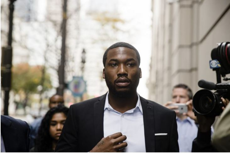 Rapper Meek Mill arrives at the criminal justice center in Philadelphia, Monday, Nov. 6, 2017.(AP Photo/Matt Rourke)