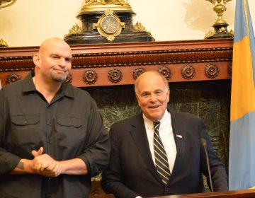 Former Pennsylvania Gov. Ed Rendell and John Fetterman speak at Philadelphia City Hall Monday.