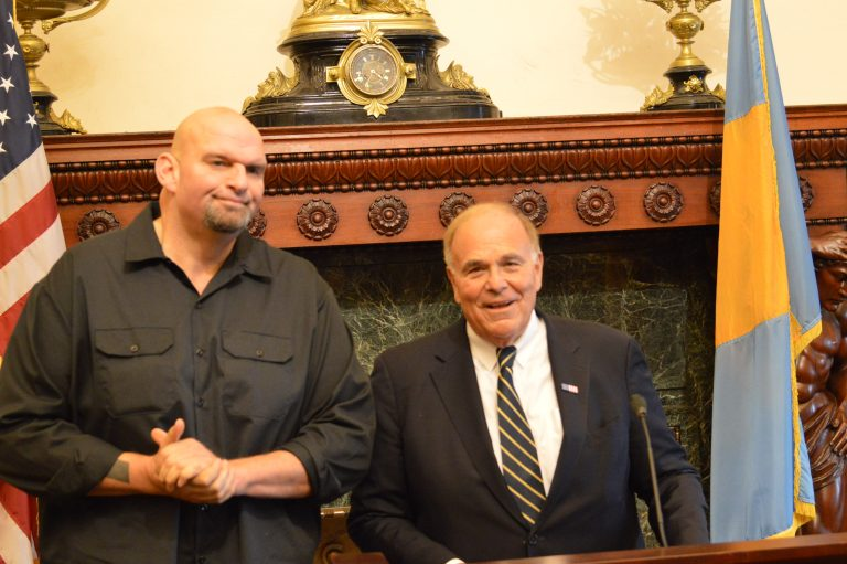 Former Pennsylvania Gov. Ed Rendell and John Fetterman speak at Philadelphia City Hall Monday.