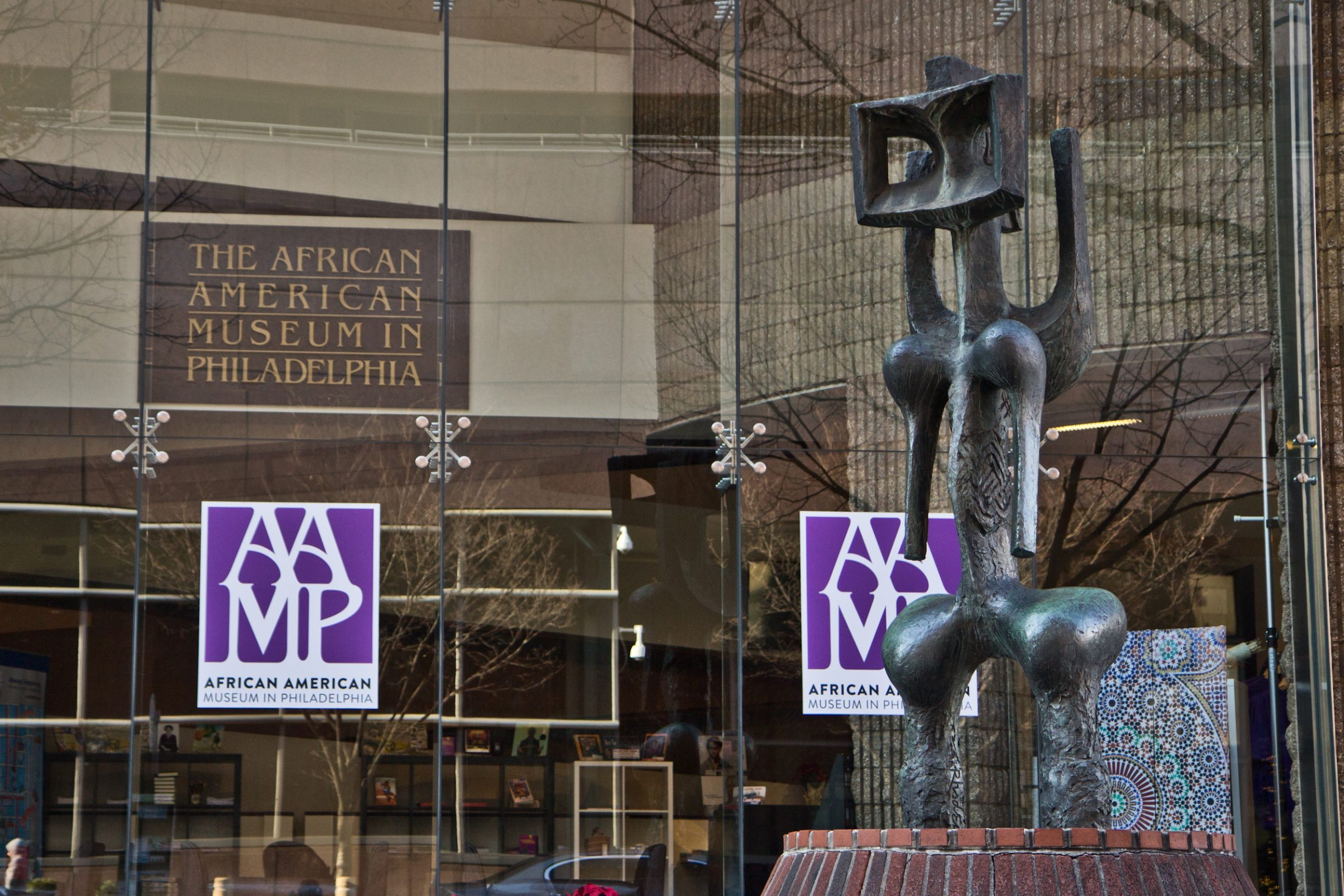 John Rhoden sculpture displayed outside the African American Museum in Philadelphia.