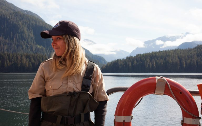 Chantal Pronteau works as a Coastal Guardian Watchman for the Kitasoo/Xai'xais. She stewards the natural resources on the First Nation's territory, doing everything from monitoring for illegal hunting to educating tourists. (Irina Zhorov/WHYY)