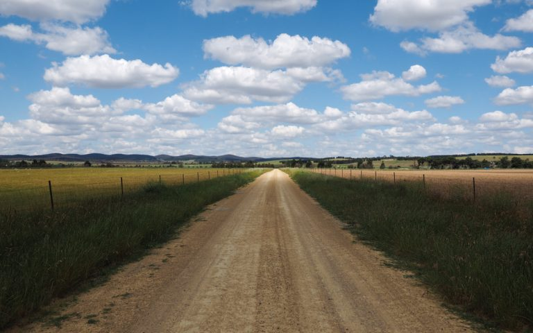 The road leading to Ian McLennan's 5,000-acre farm. (Kate Golden/for WHYY)
