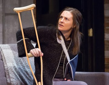 Eleanor Handley appears as the wounded photographer in Bristol Riverside Theatre's production of