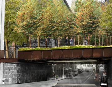 A rendering of the Rail Park's planned entrance at 13th Street in Callowhill.