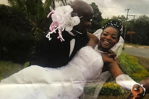 Twendele and Lukoji pose for a wedding photo in May 2015. (Photo courtesy of  Lisette Lukoji)